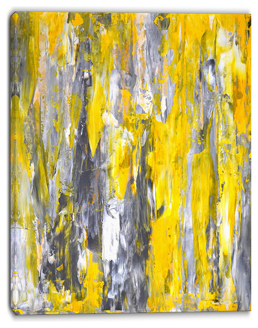 """grey And Yellow Abstract Pattern"" Abstract Canvas Print, 32""x16""."