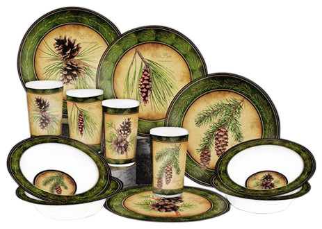 Pinecone 12-piece Dish Set - Rustic - Dinnerware Sets - by MotorHead  Products fc7dadc94d51