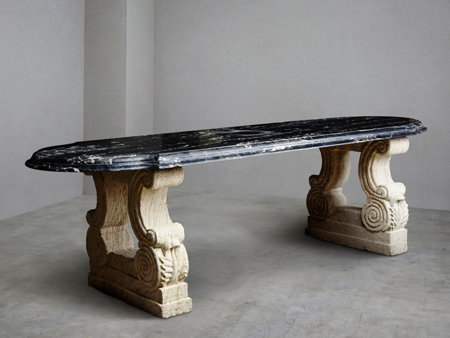 Gold and black marble 39 portoro 39 table traditional for Traditional dining table uk
