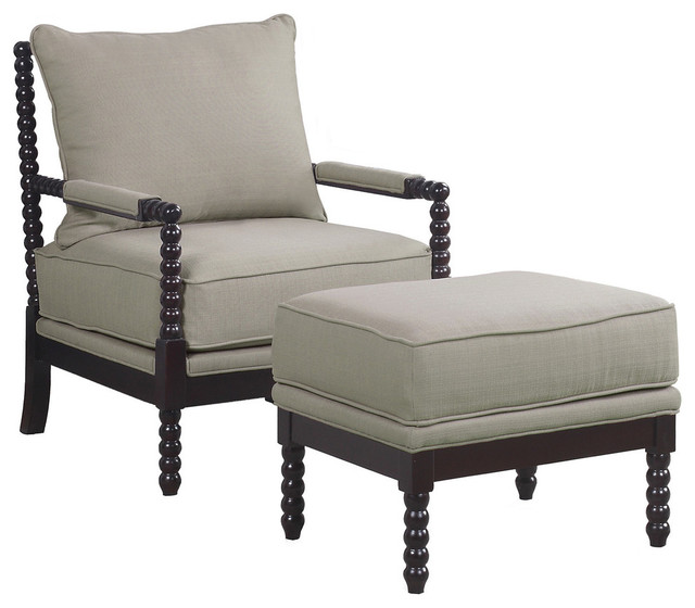 Superb 2 Piece West Palm Living Room Accent Chair With Ottoman Set Beige Espresso Bralicious Painted Fabric Chair Ideas Braliciousco