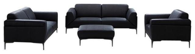 Knight Modern Leather Sofa Set, Black.