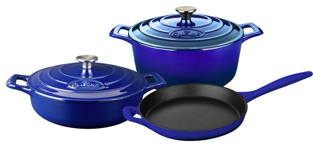 Pro 5-Piece Enameled Cast Iron Cookware Set, Round Casserole, Sapphire.