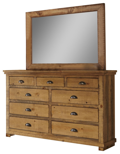 Stillwater Dresser With Mirror, Weathered Pine.