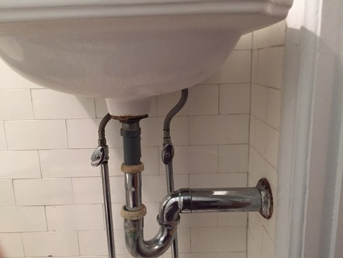 rigid and straight out of the floor bending to get to the replacement sink 10 years back