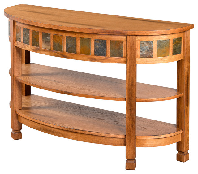 Charming Sedona Curved Entry Table/TV Console Transitional Console Tables