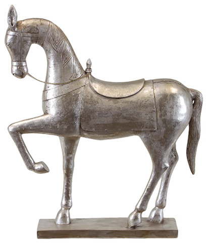 Modern Silver Chrome Polished Horse Statue Resin Accent Home Decor