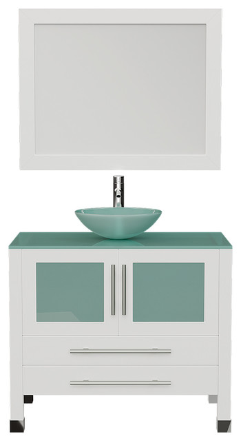 36 White Solid Wood Glass Single Vessel Sink Vanity Chrome Faucet Contemporary Bathroom Vanities And Sink Consoles By Bathroom Marketplace Houzz
