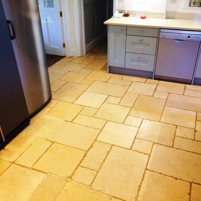 Deep Clean And Seal Of A Dirty Limestone Tiled Kitchen