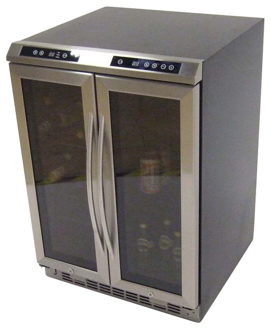 Side By Side Dual Zone Wine Cooler Black Cabinet With Glass Door