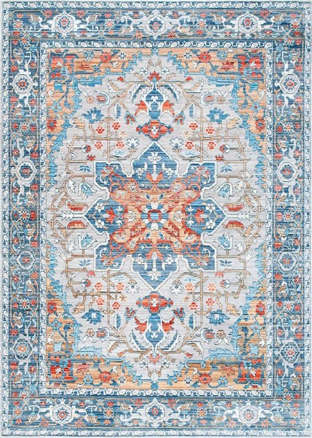 Persian Medallion Caterina Area Rug, Rectangle, Gray, 5&x27;3x7&x27;7.