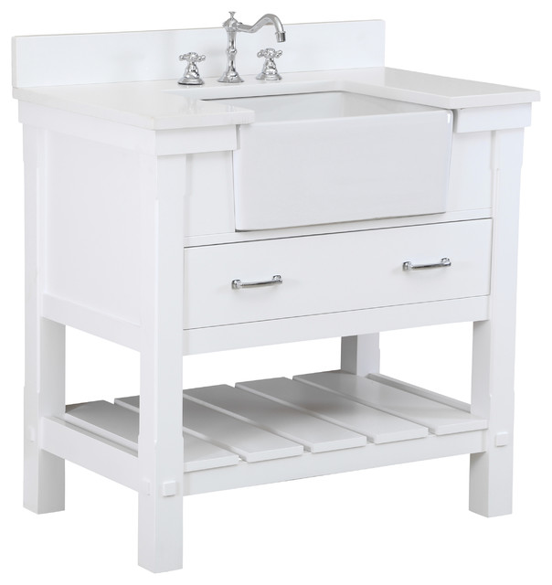 Charlotte 36 inch Farmhouse Vanity Quartz White Farmhouse Bathroom Vani