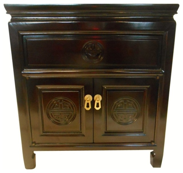 Nice Square Rosewood Chinese End Table With Drawer And 2 Doors Asian Side Tables