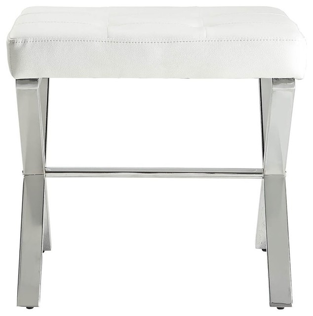 Marvelous Elisabetta Vanity Bench White And Chrome Bralicious Painted Fabric Chair Ideas Braliciousco