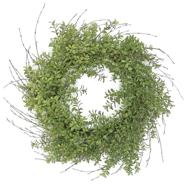 24 Boxwood And Twig Wreath.