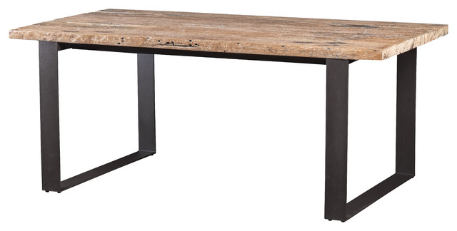 Dining Table Made Of Recycled Railway Wood With Metal Legs