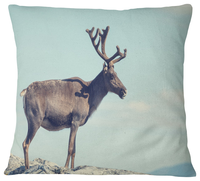 Enjoyable Large Reindeer In Norway Abstract Throw Pillow 18X18 Andrewgaddart Wooden Chair Designs For Living Room Andrewgaddartcom