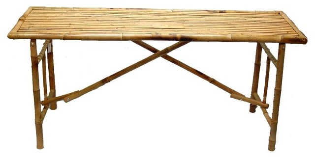 Bamboo Long Folding Table - Tropical - Folding Tables - by ShopLadder