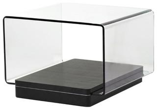 Modrest Vitro Modern Glass and Oak End Table