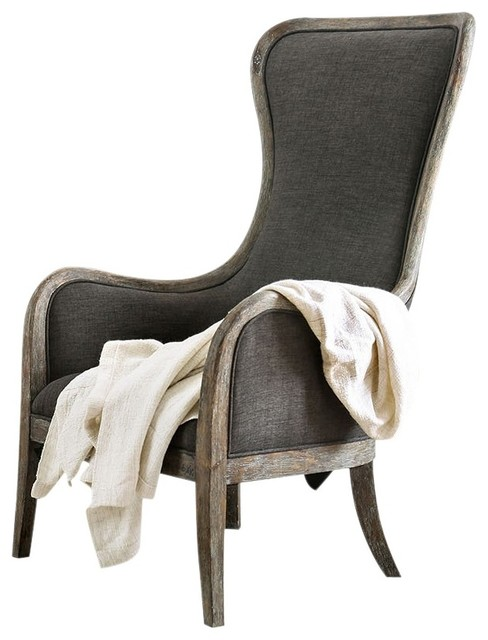 Amazing Fabric Upholstered Accent Chair In Gray And Brown Dailytribune Chair Design For Home Dailytribuneorg