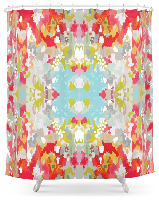 Red Watercolor Ikat Shower Curtain