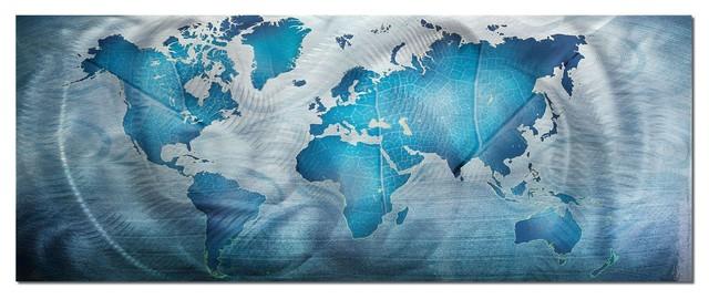 Beau Land U0026 Sea, Blue World Map Metal Wall Art, Giclee On Metal Contemporary