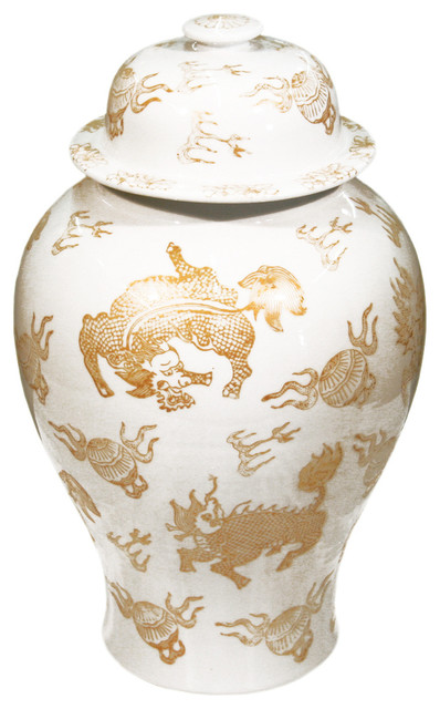 White And Gold Ginger Jar Asian Decorative Jars And