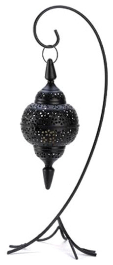 Koehler Home Decor Black Cutout Stand Lantern Mediterranean Candleholders on ornate living room furniture