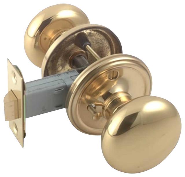 """2 3/8"""" Backset Door Knob Privacy Set, Solid Brass"""