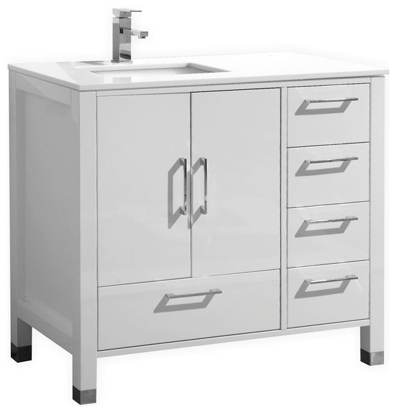 Anziano vanity with white quartz countertop 36 modern 48 inch bathroom vanity right side sink