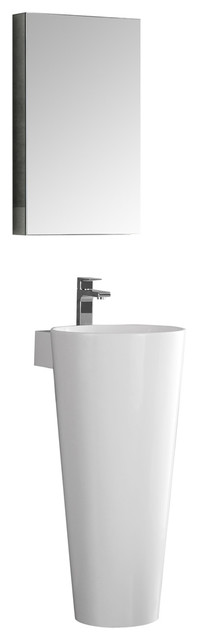 "Messina 16"" White Pedestal Sink Set Bathroom Vanity, Diveria Chrome Faucet."