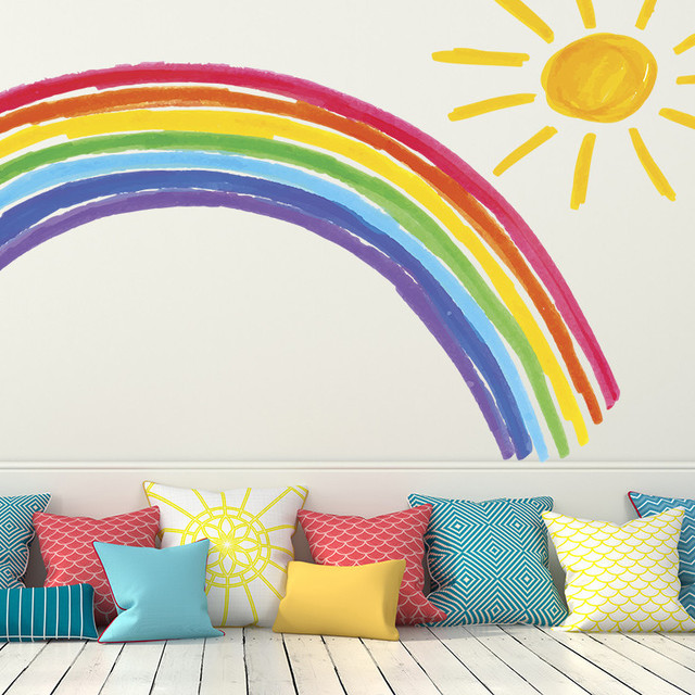 rainbow and sunshine, wall decal - contemporary - wall decals -