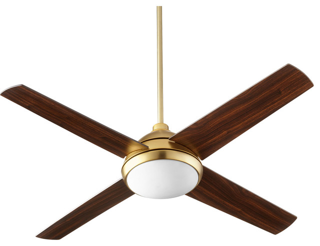 Quest 1-Light Indoor Ceiling Fans, Aged Brass.