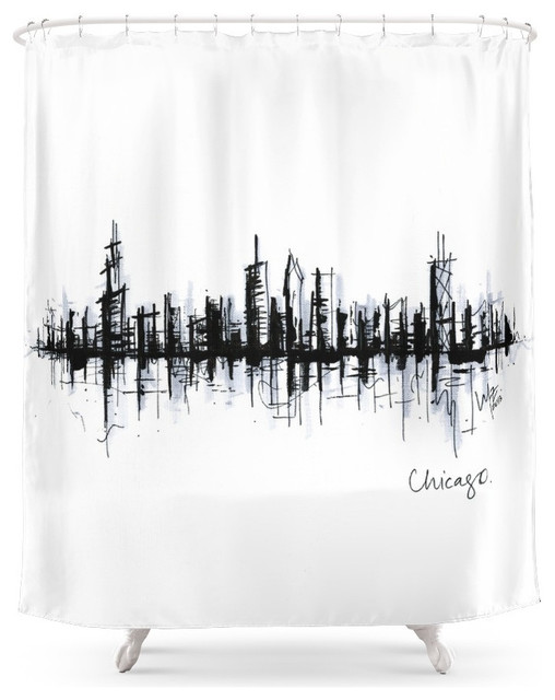 Society6 Chicago Skyline Shower Curtain Contemporary Shower Curtains