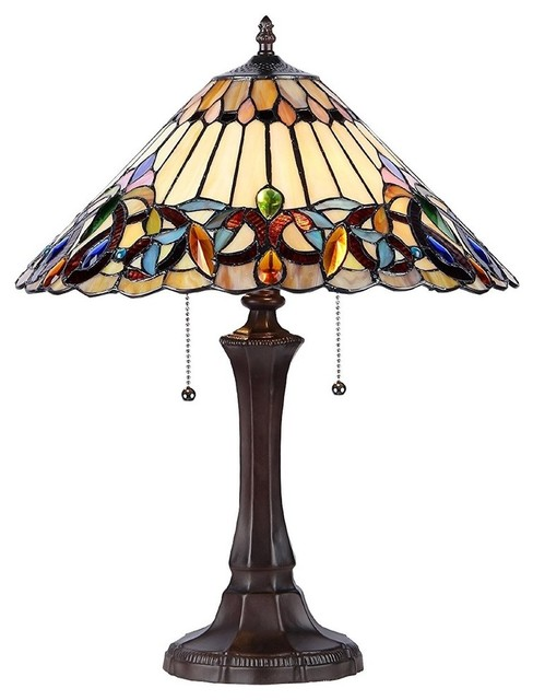 Tiffany-Style Victorian 2-Light Table Lamp.