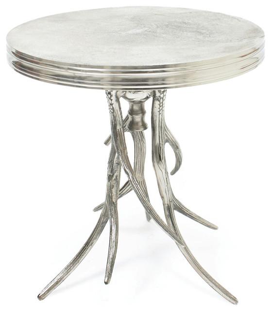 Superbe Vail Modern Rustic Polished Silver Antler Horn Side Table