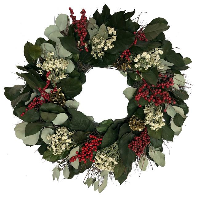 "Classic Charm Wreath, 22""."