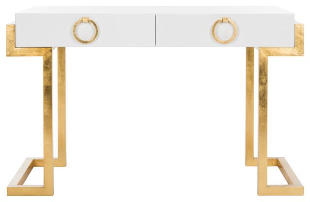 Safavieh Maia 2-Drawer Lacquer Desk.