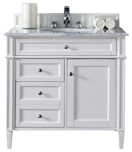 """White Transitional Bathroom Vanities: Brittany 36"""" Single Cabinet, Cottage White"""