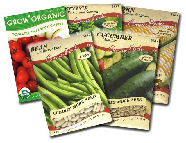 Great Garden Vegetable Seed Packets Corn, Bean, Cucumber, Lettuce, And Tomato  Traditional
