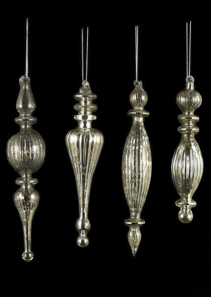Antique Silver Finial Vintage Mercury Glass Christmas Tree ...