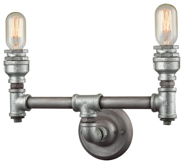 """Zinc Bathroom Vanity elk 10683/2 cast iron pipe vanity lighting 15"""" weared zinc zinc"""
