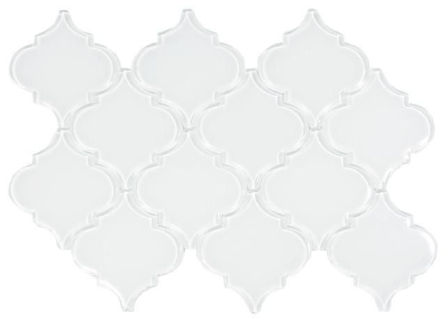 White Arabesque Glass Tile Modern Tile By Subway