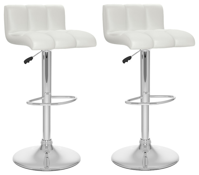 Leather counter stool set of 2 ivory contemporary bar stools - Low Back Adjustable Bar Stools Set Of 2 White