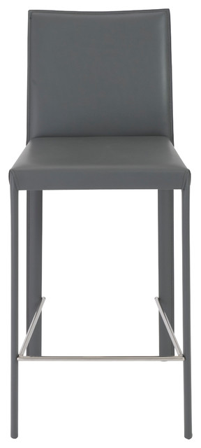Hasina Counter Stool, Set Of 2, Gray, Stainless Steel.