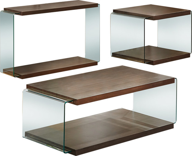 Modern Walnut Glass 3-Piece Coffee, End And Console Table Set.