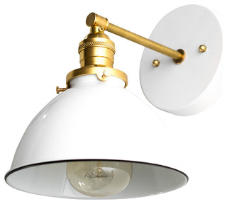 White and Raw Brass Modern Industrial Wall Sconce ...