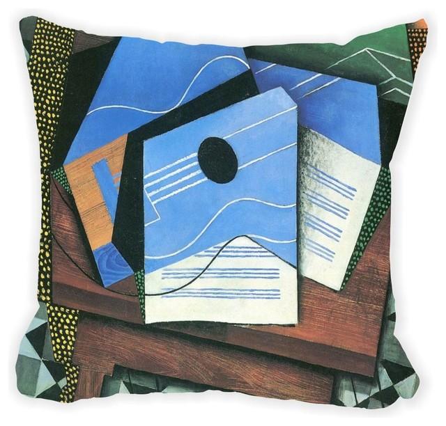 Juan Gris Art Table With Blue Guitar Microfiber Throw Pillow - Contemporary - Decorative Pillows ...