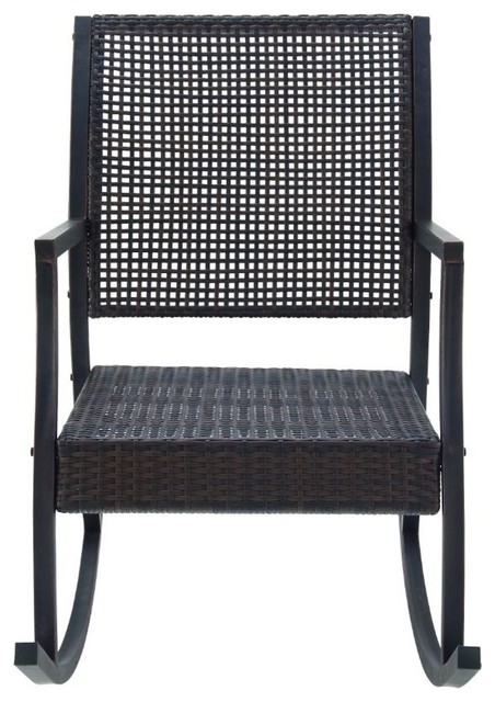 Metal and Rattan Rocking Chair Tropical Outdoor Rocking Chairs by Brimf