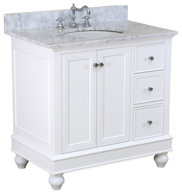 "Bella Bath Vanity, White, With Carrara Marble, 36""."