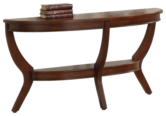 homelegance avalon half moon sofa table in cherry traditional console tables by beyond stores. Black Bedroom Furniture Sets. Home Design Ideas
